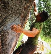 Rock Climbing Photo: Phil Chai doing work on Tin Man.