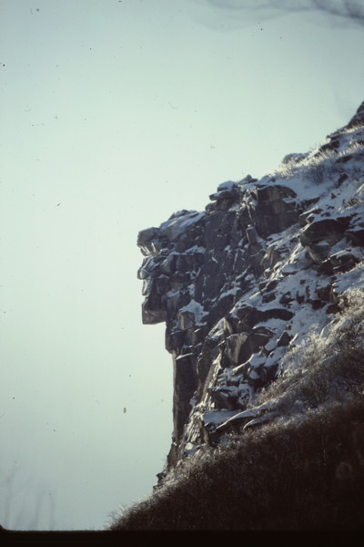 The Old Man of the Mtns, Cannon Cliff - before the fall, now only seen on NH license plates and NH-State quarters