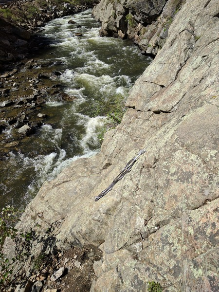 Rock Climbing Photo: Looking down at the ledge above the creek where th...
