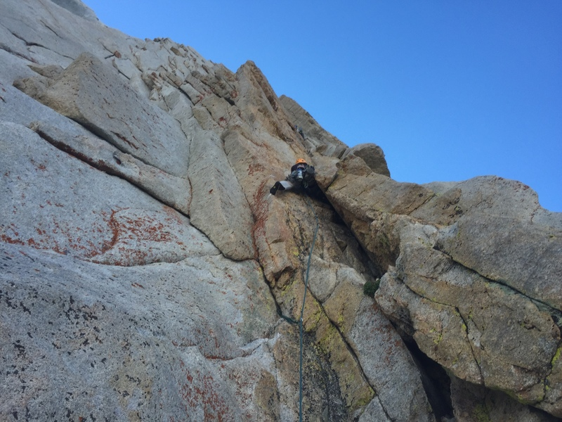 Start of roped climbing to link p1-2 (per supertopo description). aug. 2016