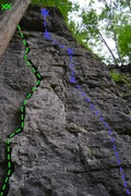 Rock Climbing Photo: Green- S Crack (5.7) Blue- J-Ella (5.10b)