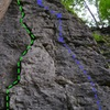 Green- S Crack (5.7)<br> Blue- J-Ella (5.10b)