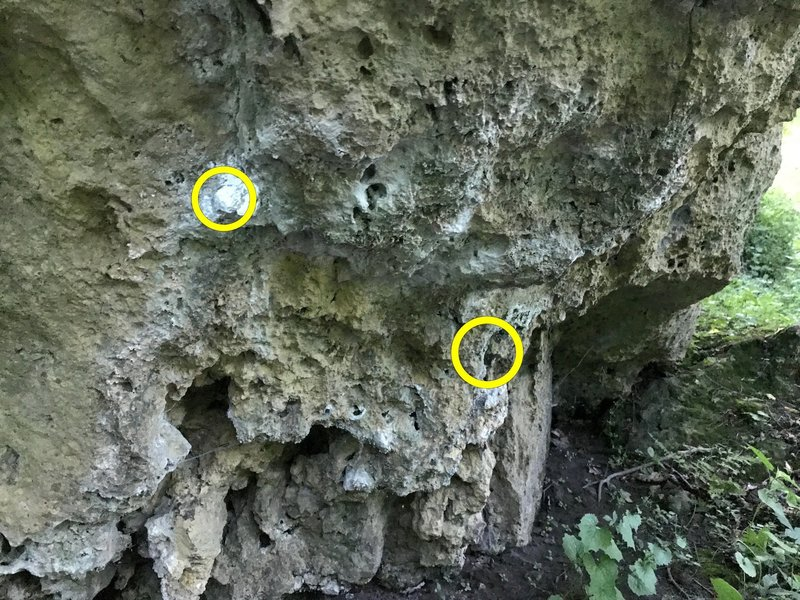 Starting holds. Left- nub and Right sloped under-cling