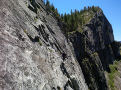 Rock Climbing Photo: Unknown climber on the (once) bushy second belay l...