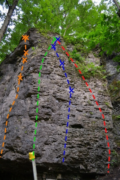 Photo of routes: J-Ella (5.10b) (Orange) Jared the Juggernaut (5.6)(Green), Excellent Ella (5.6) (Blue) and Right Arete (5.5)(Red)