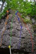 Rock Climbing Photo: Photo of routes: J-Ella (5.10b) (Orange) Jared the...