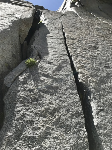 Looking straight up pitch 3. Climb the double cracks and then up the face to the right.