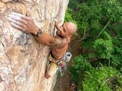Rock Climbing Photo: Robin Perkins climbing (The Gimp) 5.10c @ Crowders...