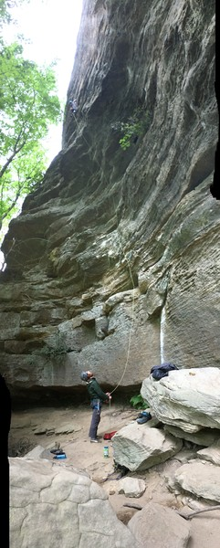 Rupert Denny climbing (Air Ride Equipped)5.11A and Will Johnson belaying. Awesome route!
