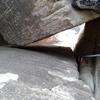 Looking down through chalk stone chimney