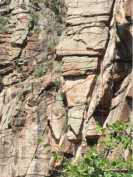 If approaching King Me from the top Maiden Voyage's pitch 5, look to climber's left (past a huge boulder), and you should spot the formation highlighted in red. This large object lies just to the climber's left of King Me's pitch 2.