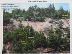 "Rock Climbing Photo: ""The Last Wave"" Area with key routes"