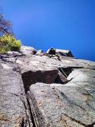 Rock Climbing Photo: Robb on pitch 1 nearing the 1st pitch anchors to h...