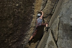 """Rock Climbing Photo: Pulling the """"hard"""" move on Test Piece."""