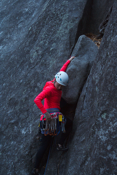 Chilling half way through her first trad lead on Bobcat Crack.
