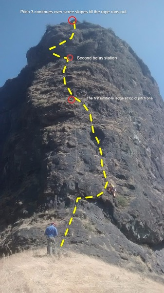 West arete of Rudra pinnacle from the base of the climb