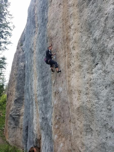 Rock Climbing Photo: Finishing up the thin crux