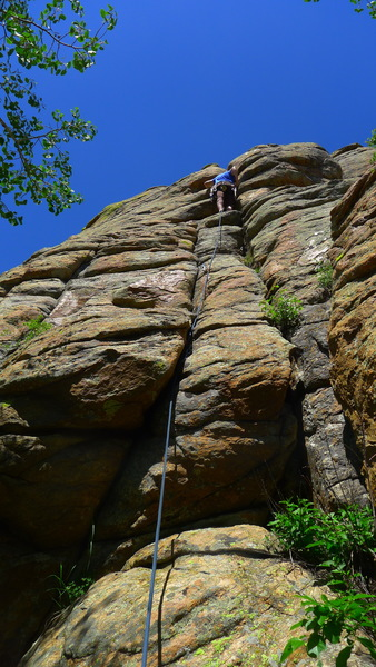 Me at crux.  Route follows rope line