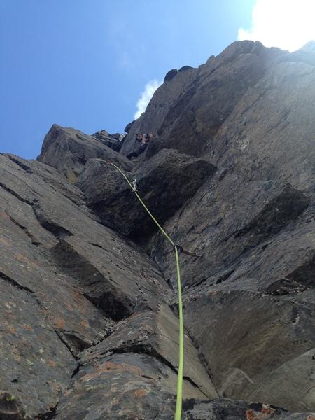 Rock Climbing Photo: Me half way up the stellar dihedral pitch!