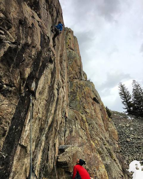 Nick getting a lap in on Moondance, Ophir, CO. The clipped rope on the left is an open project....
