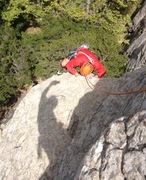 Rock Climbing Photo: Alex on the airy exposed crux of Peels of Laughter
