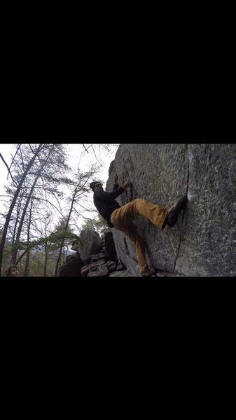 Rock Climbing Photo: Robin Perkins focusing on his next move on (Galvat...