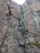 Rock Climbing Photo: The route now has some vegetation, but it does not...