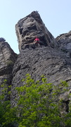 Rock Climbing Photo: This is the start of the 2nd pitch. It's all busin...