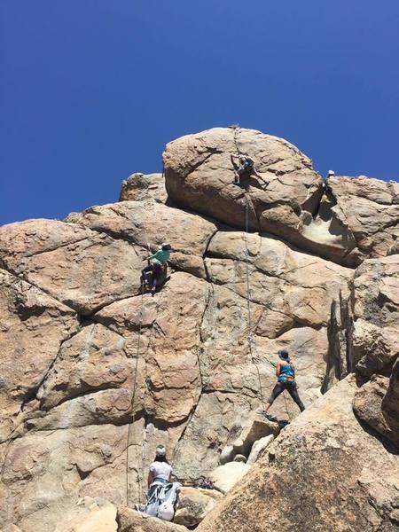 Rock Climbing Photo: Tinna leading Medicine Man on the left. Chad leadi...