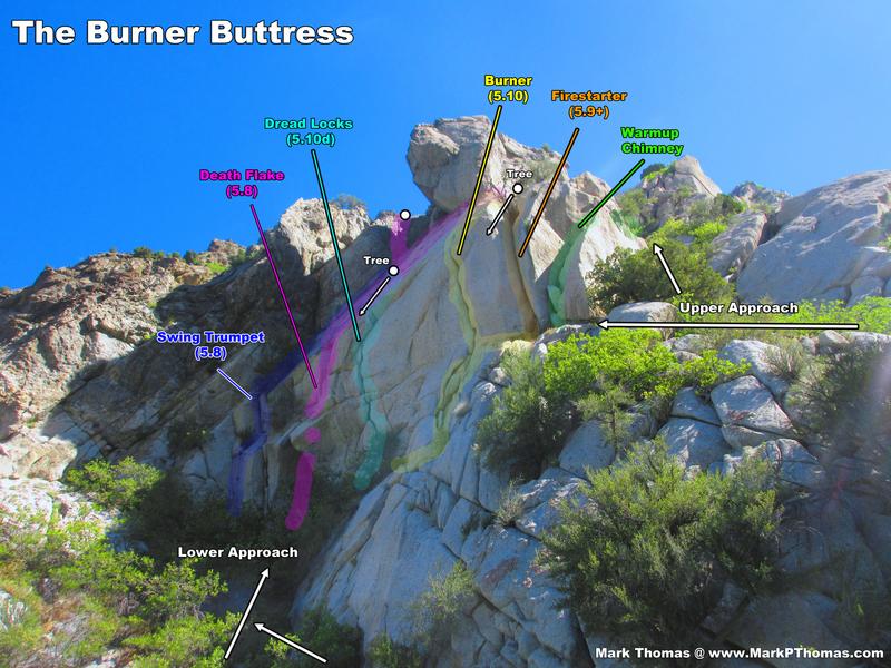 Burner Buttress seen from the notch between Bongeater Buttress and Burner Buttress.