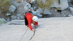 Rock Climbing Photo: Following up the first pitch of Green A 10a trad