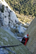 Rock Climbing Photo: Following up the 2nd pitch of green a