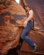 Rock Climbing Photo: Mark just _barely_ fitting into the squeeze after ...