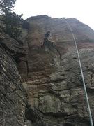 Rock Climbing Photo: Kenley top roping Quail milk on a windy day
