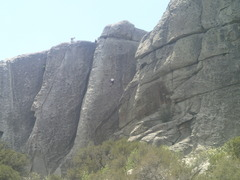 Rock Climbing Photo: Dad half way up Mystery Achievement on the right. ...