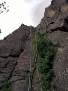 Rock Climbing Photo: There are cracks on either side of the rope. The r...