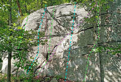 Rock Climbing Photo: Crazy Tree center left D. Bashful E. Happy F. S...