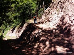 Rock Climbing Photo: Take this route uphill to the crag. From the pictu...