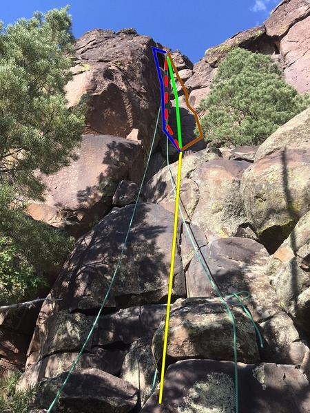 As the description says, a number of lines on this route. The bottom section up to the tree is easy. From there you can:<br> <br> Go to the left wall.<br> <br> Chimney in under the left wall.<br> <br> Take the frictiony face.<br> <br> Follow the right crack.