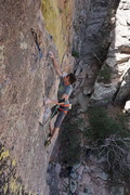 Rock Climbing Photo: Jon surfs larges holds just after the crux of the ...