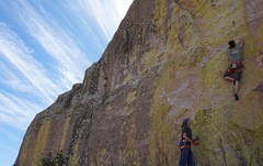 Rock Climbing Photo: Jon about to navigate the crux with calmer seas ab...