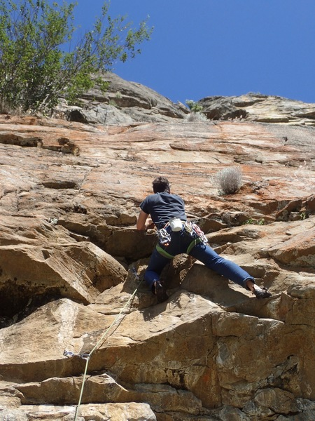 Rock Climbing Photo: EH head out of the crux....