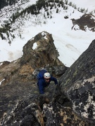 Rock Climbing Photo: 1st steep pitch after the notch. Short, some loose...