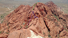 Rock Climbing Photo: Red Book Point NE ridges + N gully - from high on ...