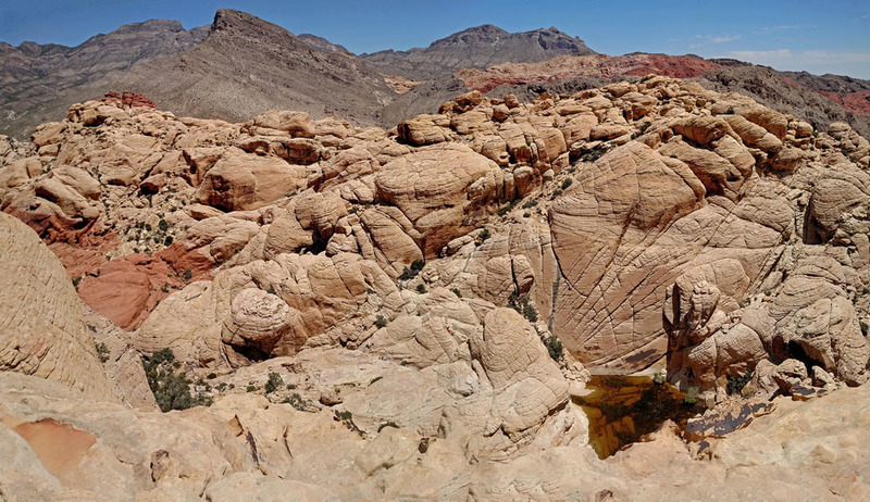 Rock Climbing Photo: Red Cap + Tank Peak above big tinaja pond - from C...
