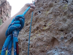 Clipping the anchors was tough. I had three fingers in the pocket in the middle for way too long, and took a nice whipper while trying to find a good stance. A better hand hold is up and to the right, just out of view (in photo and when climbing).