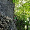 Steve climbing 12 Pack (5.10c) at the Mad River Gorge in Springfield, Ohio.