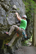 Rock Climbing Photo: Steve starting 12 Pack (5.10c) at the Mad River Go...