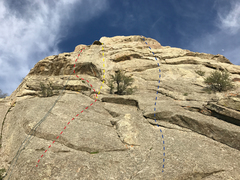 Rock Climbing Photo: Red line is Holy Moly.