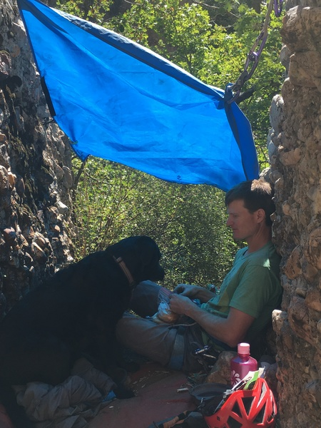 Rock Climbing Photo: Lucy and Glenn relaxing at the base of Lucy's Perc...